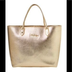 Gold leather Lilly Pulitzer $248 bag Lala tote